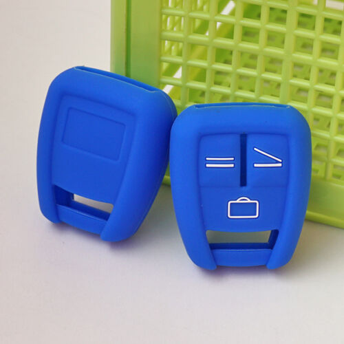 Silicon Blue Rubber key fob cover for Opel Astra Zafira Vauxhall Vectra 3 BTN