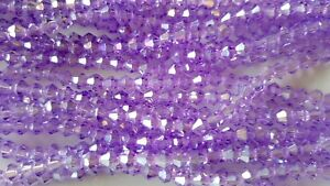 Joblot-10-strings-1200-beads-4mm-Lilac-AB-Bicone-Crystal-beads-new
