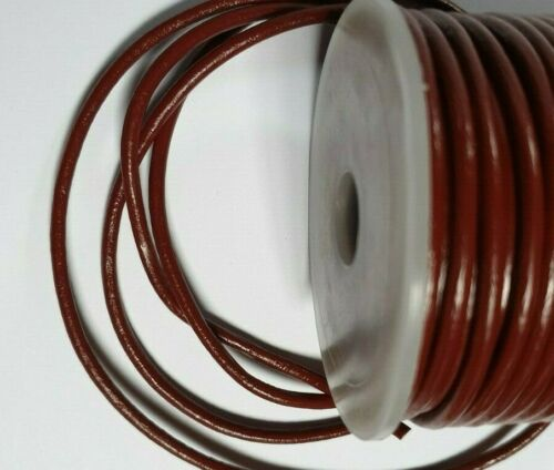 Round BURGUNDY Choice of lengths 1m Quality Leather Lacing Cord 3mm dia 25m