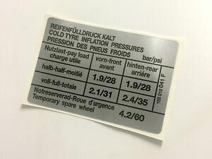 Mk1-Golf-Tyre-Pressure-Sticker-155010041F-Cabriolet-VW