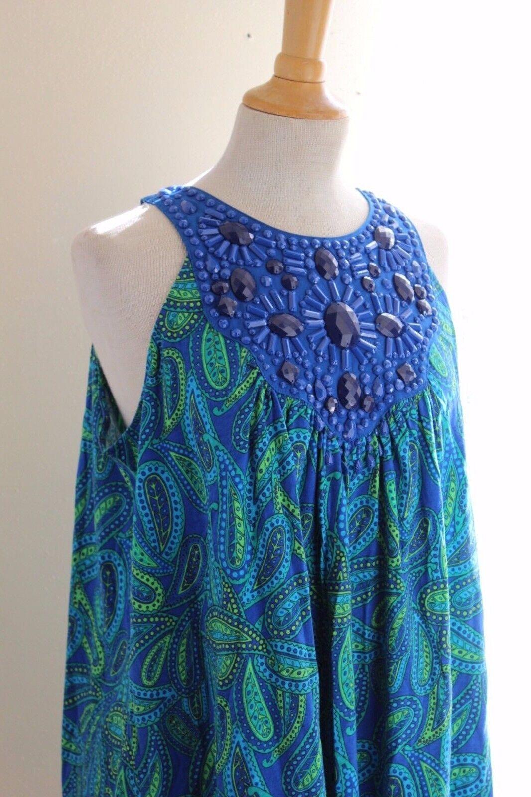 NWT Diane Gilman Rich Paisley Beaded Blau Grün Sleeveless Funky Shirt Top Sz 1X