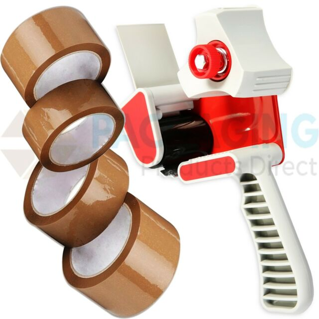 "1 HEAVY DUTY BOX PACKING TAPE GUN DISPENSER 50mm (2"") + 12 BROWN TAPES"