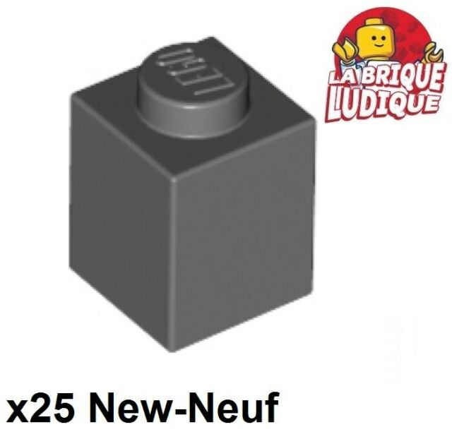 Lego 25x Brique Brick 1x1 gris foncé//dark bluish gray 3005 NEUF