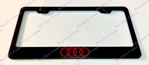Red AUDI Logo Black Stainless Steel License Plate Frame W// Bolt Caps