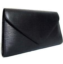 Auth Vintage Louis Vuitton Black Epi Pochette Arts Deco Clutch Bag Purse M52632