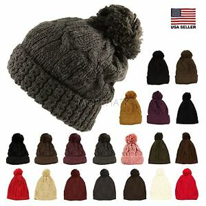 01c8322a613 Thick Crochet Knit Pom Pom Hip-hop Slouchy Beanie Warm Winter Hat ...