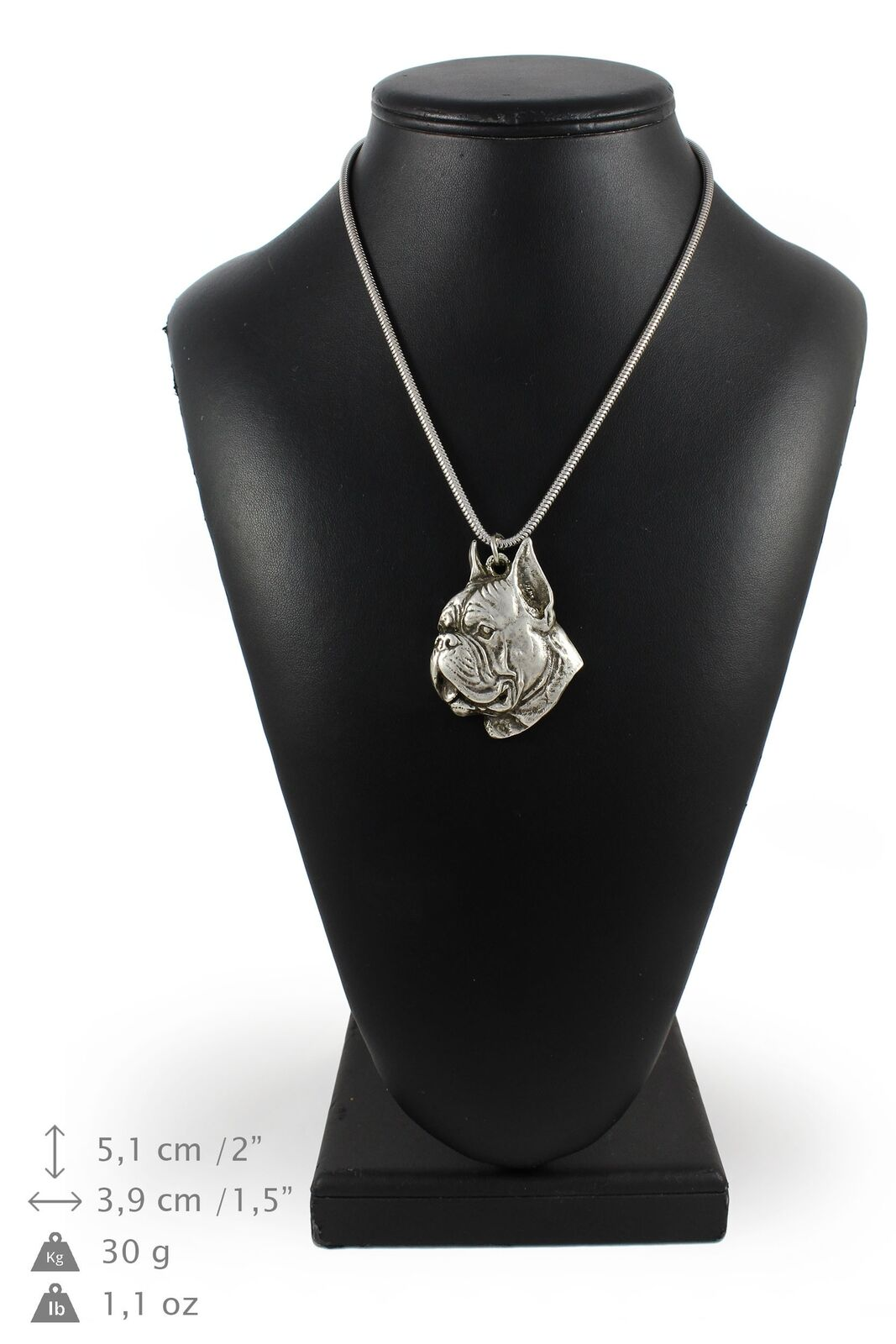 Boxer type 3 - Silber coverot necklace with Silber chain, Art Dog