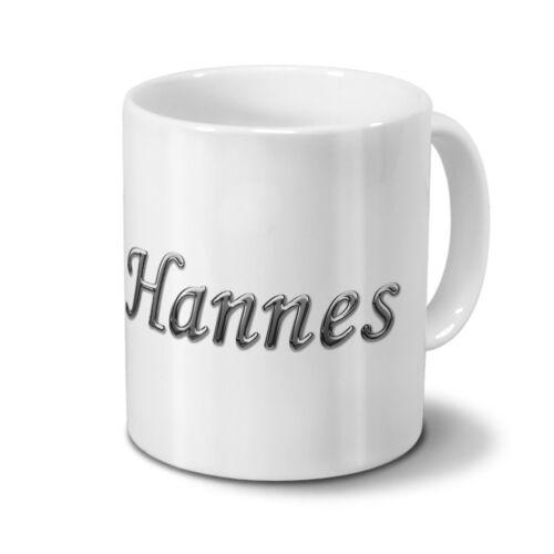 Chrom-Schriftzug Tasse mit Namen Hannes
