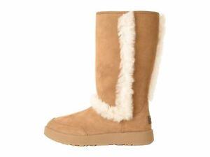 833472ababb Details about UGG Sundance Waterproof Chestnut Women's Fur Trim Boot 1017511