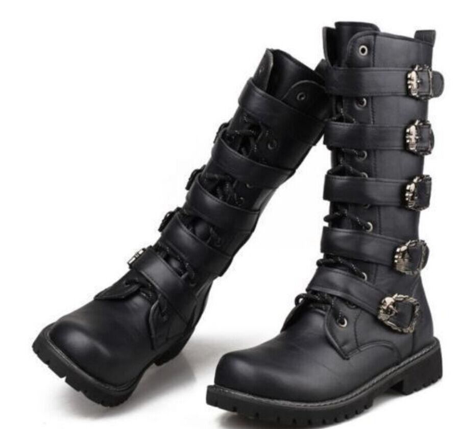 Clásico para Hombres de la rodilla botas altas Zapatos de montar a caballo de la hebilla de Combate Biker militerry Oxford