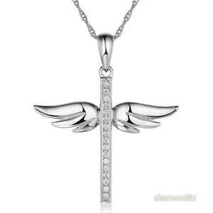 14K White Gold Angel Wing Cross Pendant Necklace 008 Ct Diamonds eBay