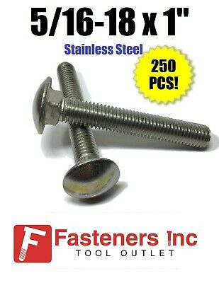 "5//16-18 x 1-1//2/"" Stainless Steel Carriage Bolt 18-8 304 Qty 250"