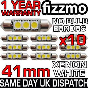 10x-41mm-3-SMD-LED-264-C5W-CANBUS-ERROR-FREE-WHITE-INTERIOR-LIGHT-FESTOON-BULB
