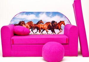 image is loading kids sofa bed 168cm futon childs furniture free  kids sofa bed 168cm futon childs furniture   free pouffe      rh   ebay co uk