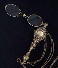 Antique 19c Ren Rev Sterling Silver Cherub Lorgnette & Chain for Restoration