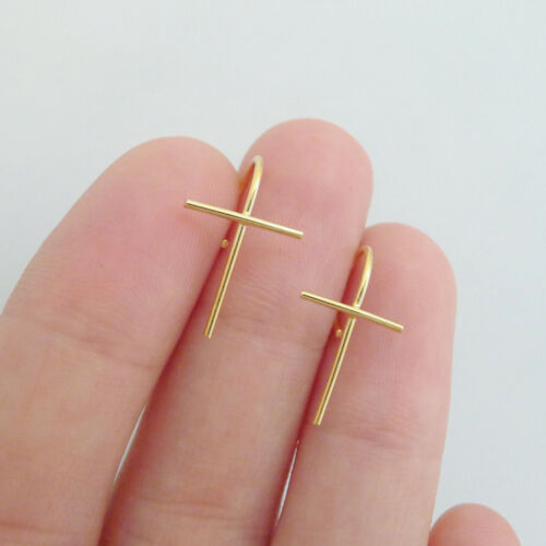 Solid 925 Sterling Silver Cross Line Drop Climber Crawler Cuff Earrings 2 Tones