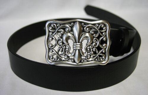 Gothique Moyen Age noir cuir ceinture avec boucle Lily fleur argent couleurs