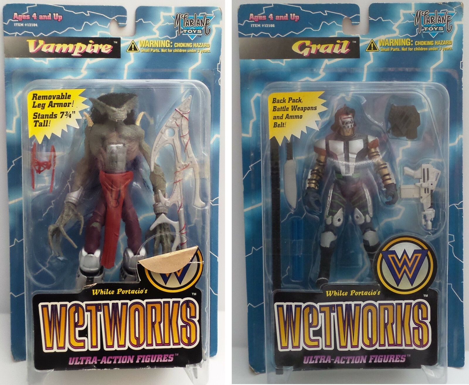 WETWORKS   GRAIL & VAMPIRE CARDED ACTION FIGURES BY MCFALNE TOYS IN 1995 (BY)
