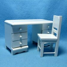 Dollhouse Miniature White Desk and Chair Set ~ Very Cute EMWF497