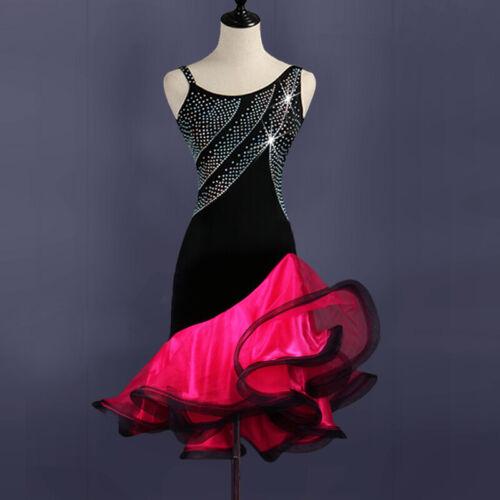 Latin Dance Dress Salsa Tango Cha cha Ballroom Rhinestone Competition Dress 373