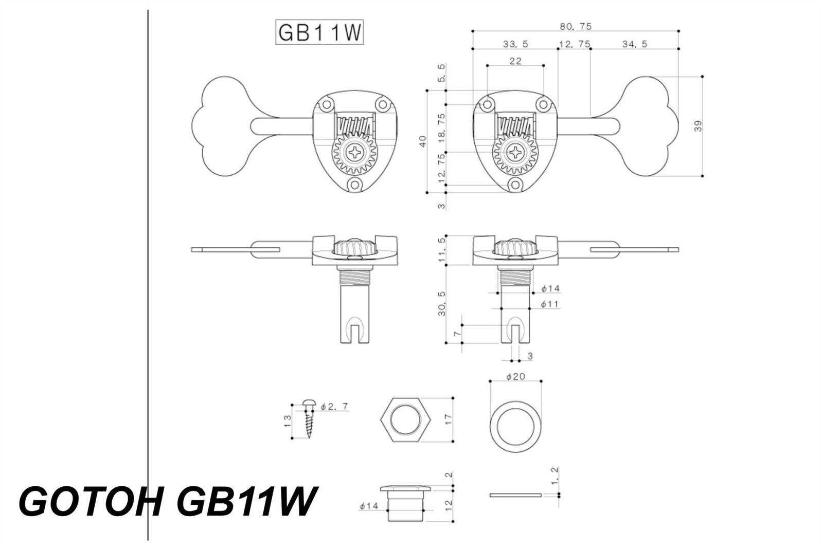 Gotoh GB11W bajo máquinas de afinación sintonizador-preconfigurado conjuntos conjuntos conjuntos fc58fc