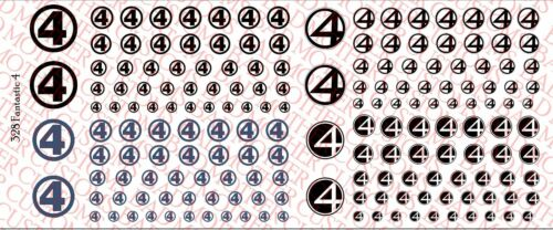for use any scale ation figures Waterslide Decals Fantastic 4 Decals