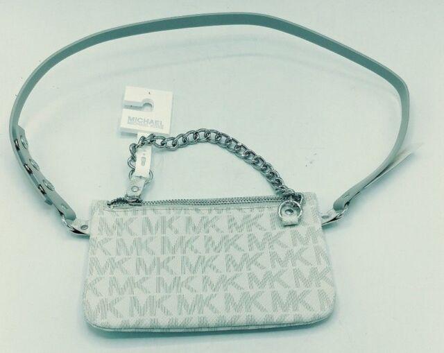 75932162e6eb Michael Kors MK Logo White Fanny Pack Belt Bag 554131 Size Large L Chain  Zipper