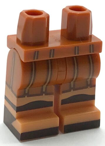 Lego New Dark Orange Hips and Legs with Flesh Boots Tan Straps Dark Brown Sand