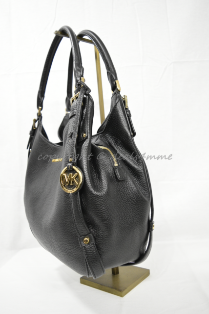0ee19cf3141d0c NWT Michael Kors Bedford Belted Large Leather Shoulder Tote in Black