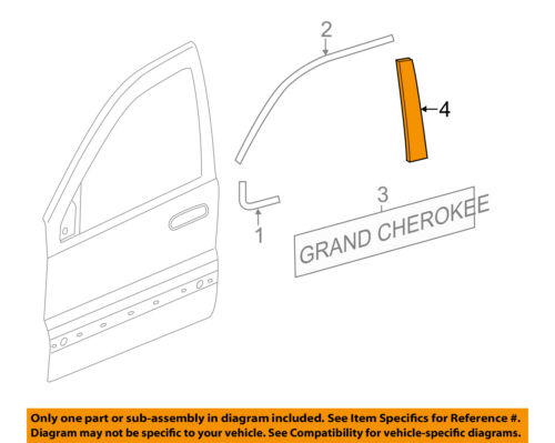 Jeep CHRYSLER OEM Grand Cherokee Front Door-Applique Window Trim Left 57010445AL