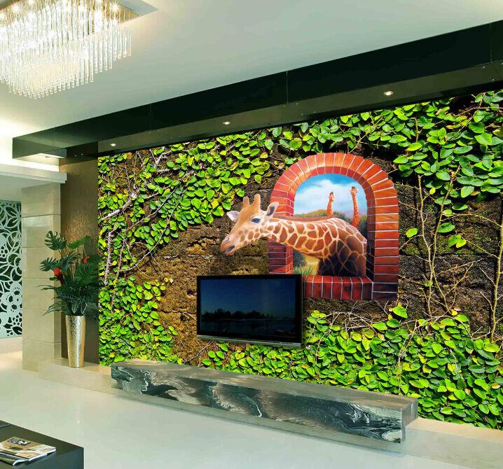 3D Grün Leaf Branches Giraffe Wall Paper Wall Print Decal Wall AJ WALLPAPER CA