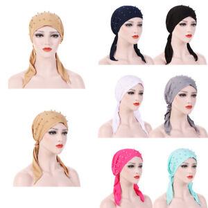 Muslim Women Bandana Hijab Cancer Hat Chemo Cap Hair Loss Head Scarf ... 10295c99dd79