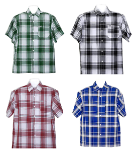 Men Work Button Down Plaid Short Sleeve Casual Shirt