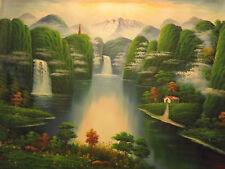 magico fata foresta paesaggio alberi lago enorme pittura a olio tela originale