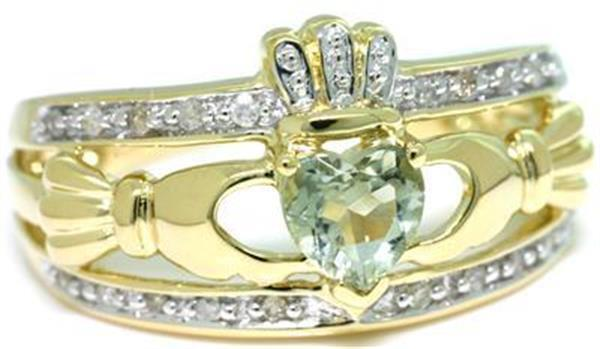 Natural Claddagh Green Amethyst & 20 Diamond 9K 9ct Solid Gold Celtic Irish Ring