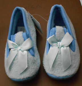 Girls-Pretty-Slippers-with-Bow-by-One-Step-Size-4-Euro-22-Blue