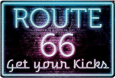 Signe en Métal Route 66 Neon Get Your Kicks    (sf)