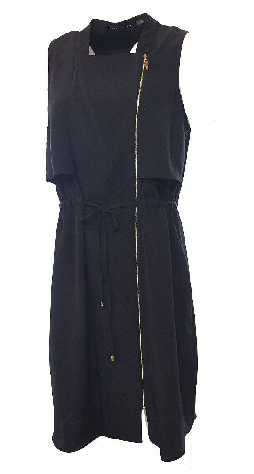 Ivanka Trump damen Sz 12 Sleeveless Zip Front Cocktail schwarz Dress 2089-3