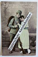 Farb-Litho AK - Postkarte - 1. WK - Soldat mit Frau / Abschied - um 1915 (S27