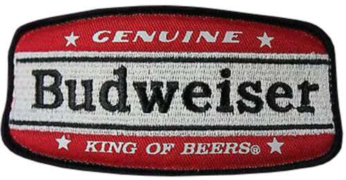 on 9cm Geniun Budweiser King of Beer Trucker Badge Embroidered Patch Sew//Iron