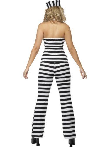 Cell Convict Prisoner Ladies Cops /& Robbers Fancy Dress Costume UK 12-14