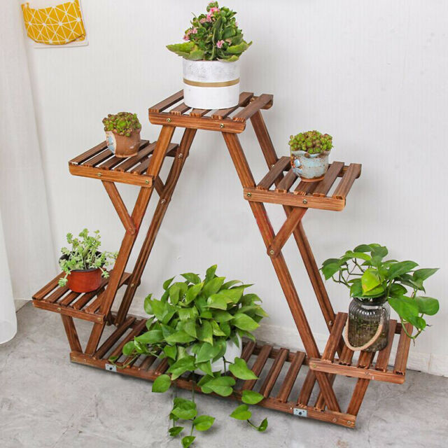 Wood Corner Plant Stand Triangular Planter Flower Shelf ...