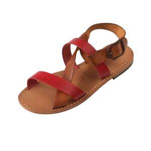 Sandali-donna-Positano-con-SUOLA-in-CUOIO-colore-Rosso-Cognac