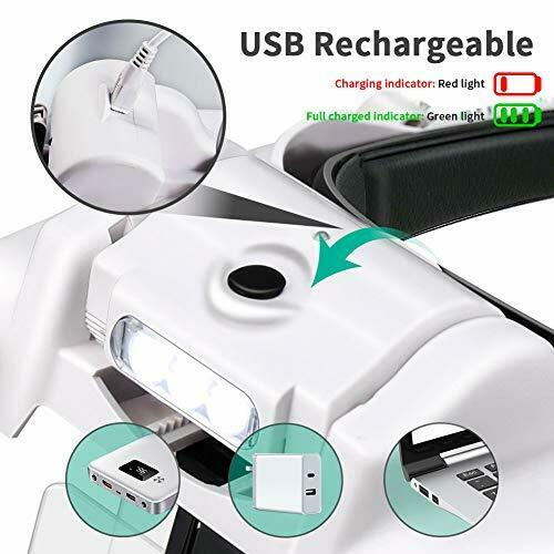Lupenbrille mit Licht Powcan Hände Frei Kopfband Lupen Standlupe mit 3 LED li...