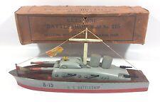 VINTAGE 1940 WOODEN KEYSTONE BATTLESHIP Model  # 215 & Box Boat Battleship Ship