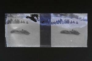 Francia Suisse Neige Foto Stereo Th3L1n26 Placca Da Lente Vintage Negativo