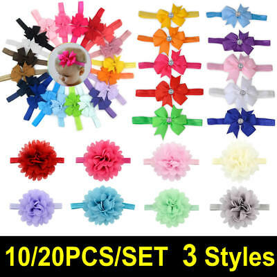 10-20pcs Elastic Baby Headdress Kids Hair Band Girls Bow Newborn Headband Ribbon