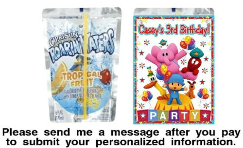 12 Pocoyo Birthday Party Capri Sun Juice Pouch Stickers Labels Baby Shower