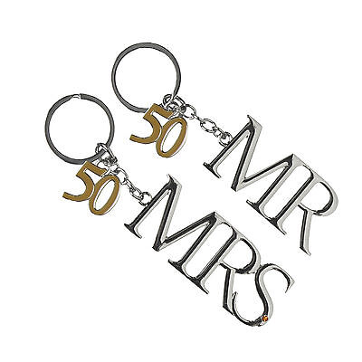50th Golden Wedding Anniversary Silver Plated Mr & Mrs Keyrings 50th Gift Ideas