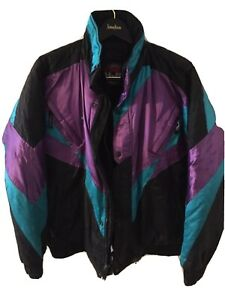 Mens-Size-XL-HJC-Insulated-Snowmobile-Jacket-Black-Purple-Teal-Full-Zip